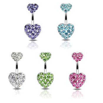 Double paved gem heart belly ring