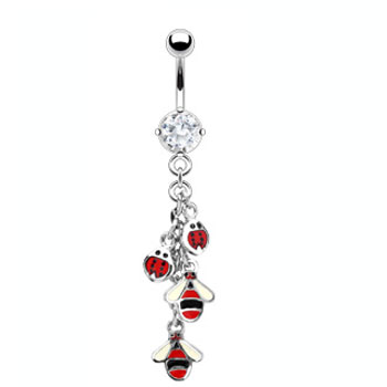 Navel ring with dangling ladybugs