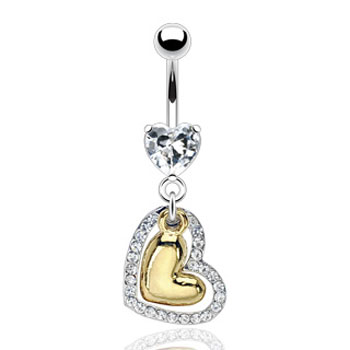 Navel ring with dangling gold colored heart and jeweled heart
