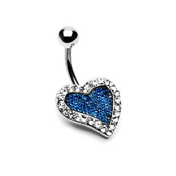 Blue denim jeweled heart navel ring
