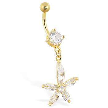 Gold Tone belly ring with large dangling jeweled flower