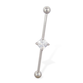 Industrial straight barbell with jeweled square 14 ga