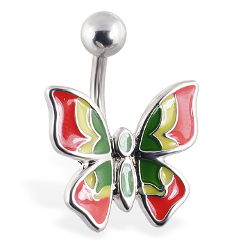 Multi-colored butterfly belly ring