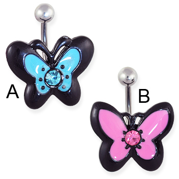 Jeweled acrylic butterfly belly ring