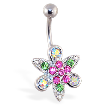 Multi-color flower and leaf belly ring