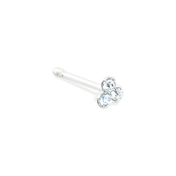 Silver nose bone with small clear clover with gems, 22 ga