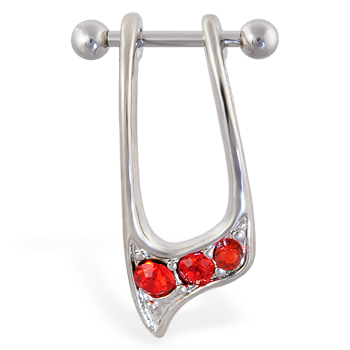 Straight helix barbell with dangling red jeweled cuff , 16 ga