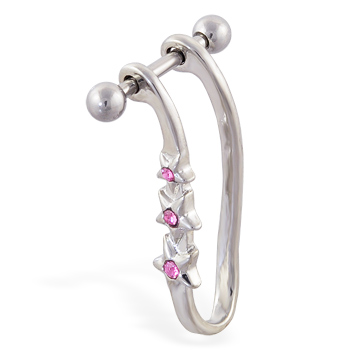 Straight helix barbell with dangling pink jeweled star cuff , 16 ga