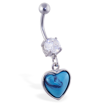 Belly ring with dangling lt blue heart