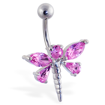 Pink jeweled dragonfly belly ring