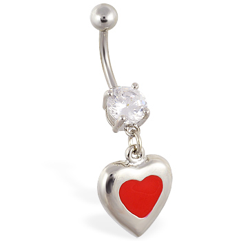 Navel ring with dangling steel red heart
