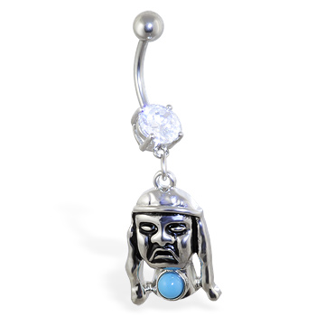 Belly ring with dangling indian man
