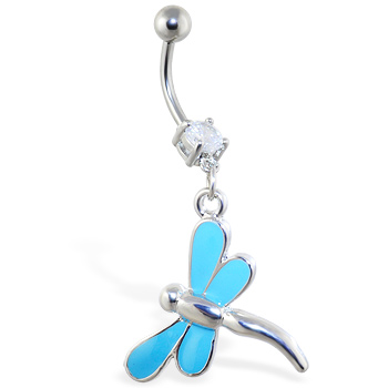 Belly ring with dangling light blue dragonfly