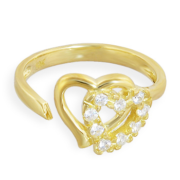 10K real gold spiral toe ring with double jeweled hearts