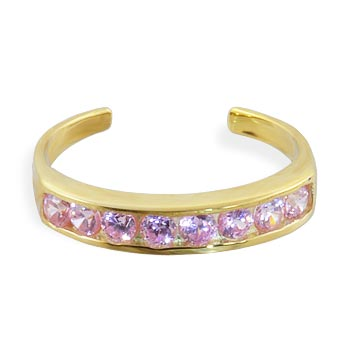 10K real gold spiral toe ring with pink paved gems