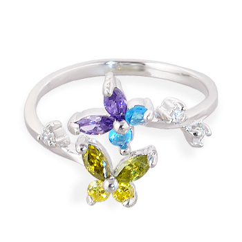 .925 sterling silver multi-colored jeweled butterfly toe ring