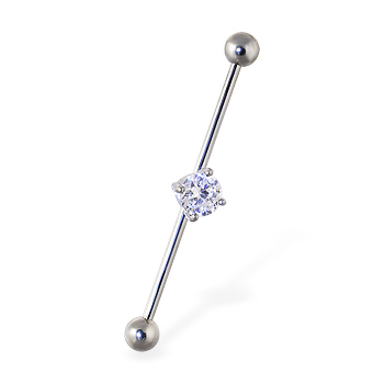 Industrial straight barbell with gem, 14 ga
