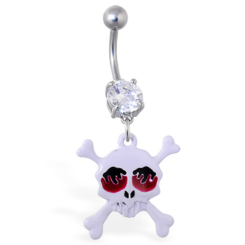 Navel ring with dangling white skull with flame eyes