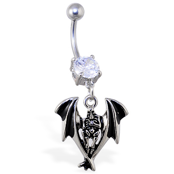 Navel ring with dangling grim reaper