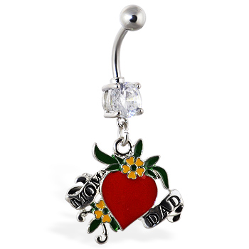"Navel ring with dangling heart ""MOM"" and ""DAD"""