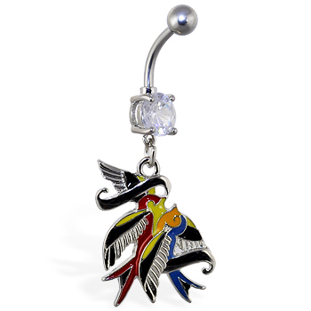 Navel ring with dangling colorful birds