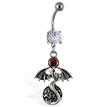 Navel ring with dangling dragon with red gem and circle