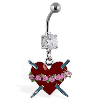 Navel ring with dangling red heart with roses and daggers