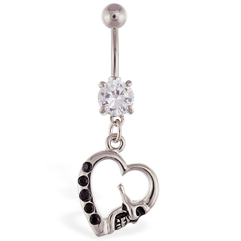 Navel ring with dangling skull heart with black gems