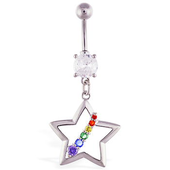 Navel ring with dangling hollow star and rainbow gems