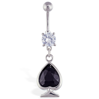 Navel ring with dangling large black jeweled spade