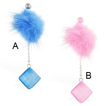 Fuzzy belly ring with dangling sparkling square