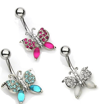 Frosted gem butterfly navel ring