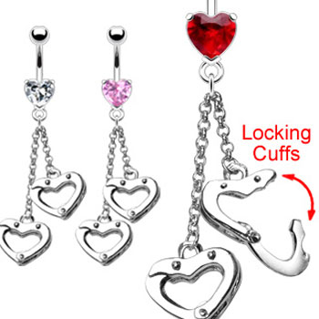 Navel ring with dangling heart locking cuffs