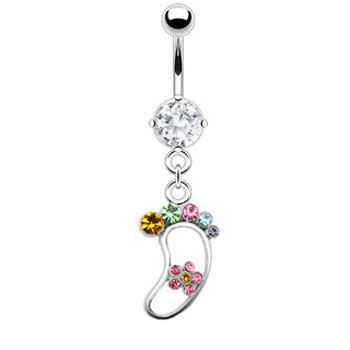 Navel ring with dangling rainbow foot with flower