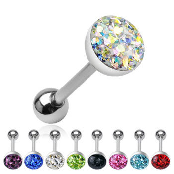 Crystal paved ball tongue ring, 14 ga
