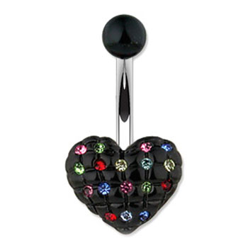 Black Heart Navel Ring With Multi-Colored Gems