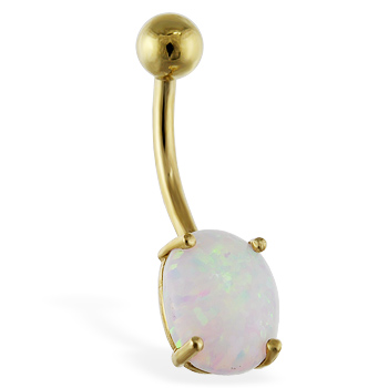 14K Gold Belly Ring With Opal Stone