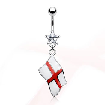 Belly ring with dangling English flag