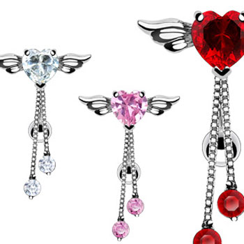 Reversed belly ring with heart with wings and dangles