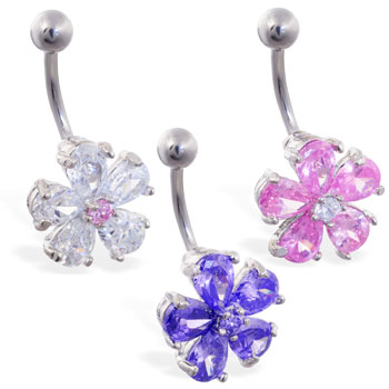 Jeweled flower belly ring