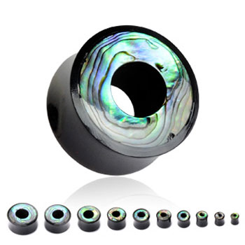 Pair Of Buffalo Horn Saddle Tunnels with Abalone Inlayed Rim