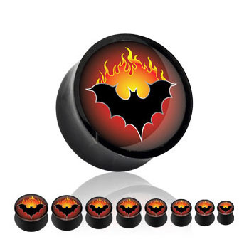 Pair Of Black Acrylic Saddle Plugs with Flaming Bat