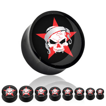 Black acrylic saddle plug with skull and star
