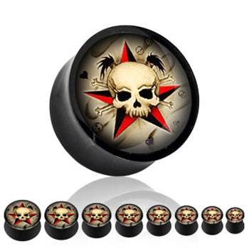 Black acrylic saddle plug with girly skull and star