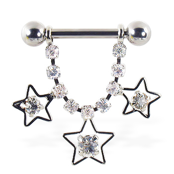 Nipple ring dangling jeweled chain and stars, 12 ga or 14 ga