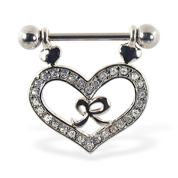 Nipple ring with dangling jeweled heart and bow, 14 ga