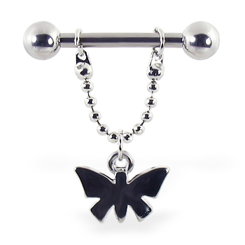 Nipple ring with dangling butterfly on chain, 12 ga or 14 ga