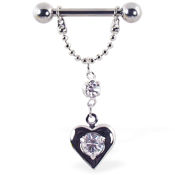 Nipple ring with dangling chain and heart with center gem, 12 ga or 14 ga
