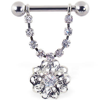 Nipple ring with dangling jeweled chain and flower, 12 ga or 14 ga
