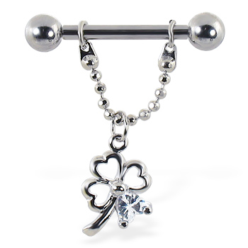 Nipple ring with dangling chain and clover with gem, 12 ga or 14 ga
